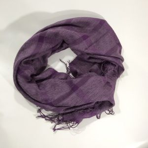 Scarf   Large Checkered Purple Scarf with Fringe